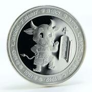 Zambia 5000 Kwacha Year Of The Ox Silver Coin 2009