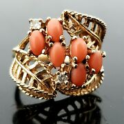 Antique 14k Yellow Gold Handmade Pink Angel Skin Coral And Diamond Cocktail Ring