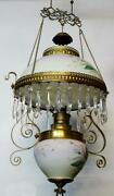 Lamp Hanging Victorian Oil Fixture Bradley And Hubbard Gorgeous Antique