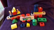 18 Pc Melissa And Doug Wooden Stacking Block Train Set