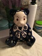Polish Pottery Adorable Teddy Bear Figurine Hand Painted 5 1/2 X 4 Inches Vgc