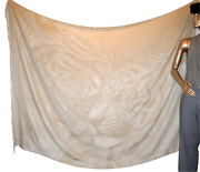 Hermes Natural Beige Cashmere And Silk Shawl Plaid Tiger 88 X 59 So Chic