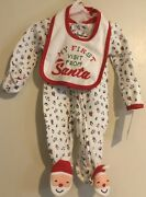 Baby Nb Newborn My 1st First Carters Christmas Santa Zip Footed Outfit New