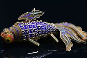 Fish Ornament Pendant - Silver Gilt Enamelled In Gold With Articulated Body
