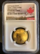 Canada - 2019 Gold And03950th Anniv. Of The Apollo 11 Moon Landingand039 Convex-shape Coin