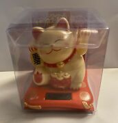 """Solar Powered Welcoming Lucky Beckoning Hands Waving Fortune Yellow Cat ,4.5""""h"""