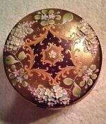 Exquisite Bohemian Glass Powder Box C 1880. Gilded And Heavily Enameled. Pristine