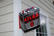 Old Style Atlas 6 Volt Vintage Type Car Battery Diecut Flange Sign Made In Usa