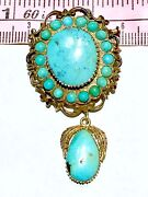 Large 15k Late Victorian To Art Nouveau Turquoise Seeds Pendant Brooch
