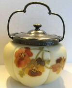Antique Smith Brothers Biscuit Barrel Pansies/gold Victorian Mt Washington Euc