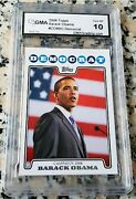 Barack Obama Democrat 2008 Topps Rookie Card Rc Gem Mint 10 Very Rare