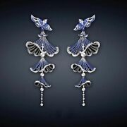 Multi Blue Color Sapphire And Real 925 Silver Pretty Flying Birds Dangle Earrings