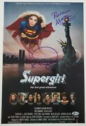 Faye Dunaway And Helen Slater Dual Signed Supergirl 12x18 Movie Poster Dc Bas