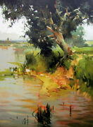 Vytautas Laisonas Original Canvas On The River Bank Water Lake Oil Painting