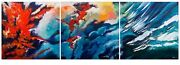 Stunning Original Bryony Harrison Forest Fire Triptych Abstract Painting