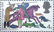 Superb Gary Hogben Original Richardand039s Realm Medieval Knight Stamp Painting