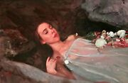 Original William Oxer Beauty In Death John Millais Style Ophelia Keats Painting