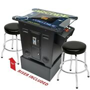 2 Player Cocktail Arcade With Base Raiser And Stools - 60 Games