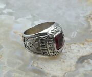 10k Wg United States Army Ring - Calvary With Red Stone Size 9