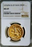 1976 Superb Isle Of Man 2 Lb Gold Sovereign, Ngc Ms-69