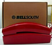 Vintage Bellsouth Red Slim Line Push Button Corded Phone - With Box