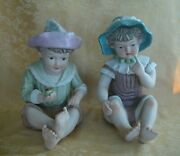 Pair Vintage Porcelain Piano Babies Boy And Girl With Hats Figurines Large 12andrdquo