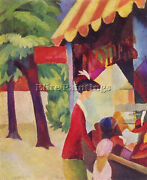 Macke Before Hutladen Woman With A Red Jacket And Child Artist Painting Canvas
