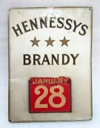 Vintage Old Rare Hennessy Brandy Ad Litho Print Tin Sign With Calendar France