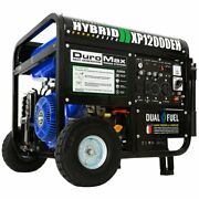 Duromax 12,000-w Portable Hybrid Dual Fuel Gas Powered Electric Start Generator
