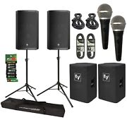 Electro-voice Elx200-15p 15 Powered Speakers Pair + Covers + Stands + Mics