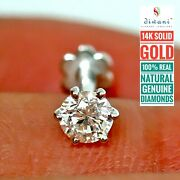 4.2mm 1/3 Ct Natural I Diamond Solitaire Nose Lip Ring Piercing Stud Pin Screw