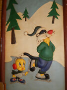 4 Ft X 8 Ft Rare Sylvester The Cat And Tweety Bird Looney Tunes Wall Hanging