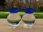 Pair Of Barbini Murano Glass Art Candle Stick Holders Signed