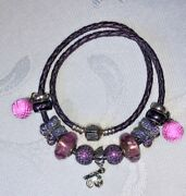 Pandora Double Braided Leather Bracelet With Charms