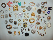 Huge Vintage Signed Lot Marked Christmas Holiday Earrings Jewelry Brooches Pins
