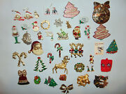 Huge Vintage Lot Signed Marked Christmas Holiday Earrings Jewelry Brooches Pins