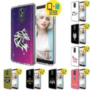 Gel Design Protective Phone Case Cover For Lg Stylo 5,wolf Print,tempered Glass