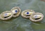 Vintage 14k Yg Reversible Diamond And Sapphire Cuff Buttons Circa 1940