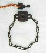 Original 1900's Old Antique Iron Rare Bicycle Chain Lock Key Collectible Germany
