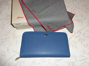 Brioni One Zip Compartment Saffiano Blue Leather Briefcases Made In Italy