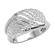 1ctw Round Cut Natural Diamond 18k Gold Wedding Band Ladies Dome Grooved F Vs1