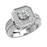 1.2ct Natural Round Diamond Solitaire Halo Engagement Ring For Women 18k Gold