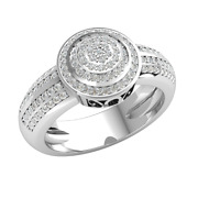 18k Gold 0.7ct Round Cut Real Diamond Engagement Ring For Women Cluster H Si2