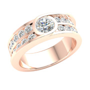 1.50ct Round Real Diamond Solitaire Accents Engagement Ring For Women 14k Gold