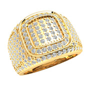 10k Gold 1.6ct Round Genuine Diamond Engagement Ring For Men Micro Pave Gh Si1
