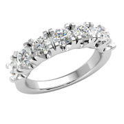 1.5ct Round Natural Diamond 14k Gold Wedding Band For Women 5 Stone Gh Si2
