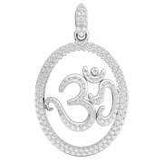 2ct Genuine Round Diamond Oval Lord Om Pendant For Women 18k Gold