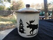 Home Studio Kohl's Woodland Tree Moose Bear Brown And Tan Canister / Cookie Jar