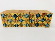 Antique Santa Claus Christmas Train Abc Wood Blocks With Animal Characters 1910