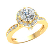 1.2ct Round Diamond 10k Gold Engagement Ring For Women Halo Solitaire J Si2